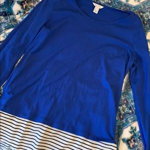 Blue long sleeve with cute striped bottom